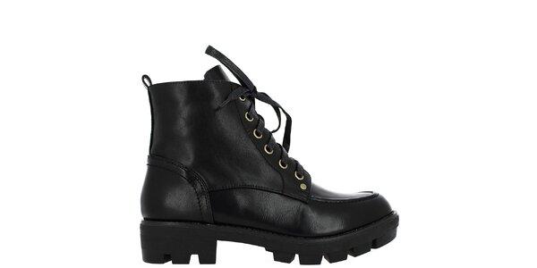 Dámské černé šněrovací kotníkové boty Shoes and the City