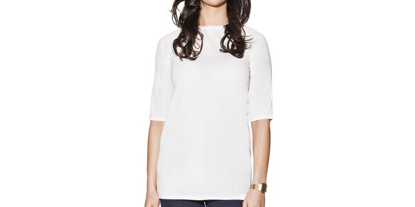 Dámské bílé prodloužené tričko Joana and Paola