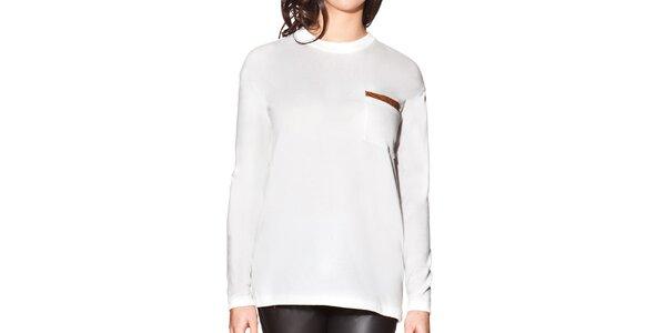 Dámské bílé prodloužené tričko s kapsičkou na hrudi Joana and Paola
