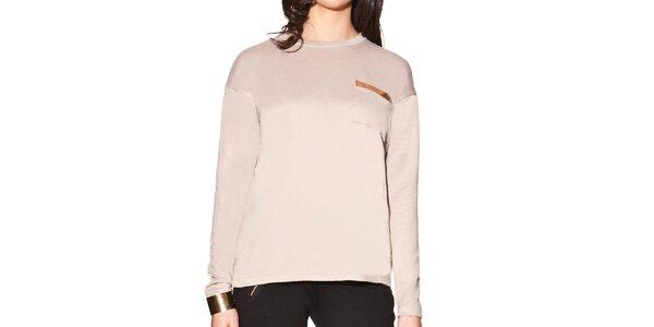 Dámské pudrové prodloužené tričko s kapsičkou na hrudi Joana and Paola