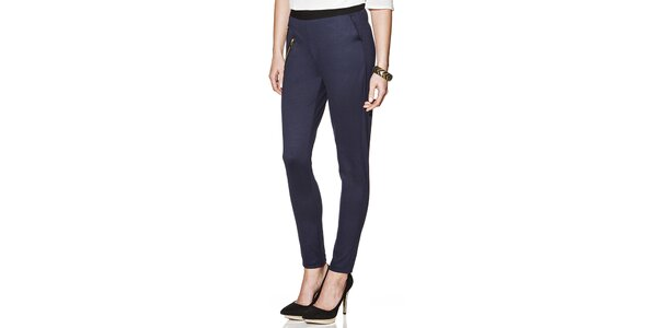 Dámské modré kalhoty se zipy Joana and Paola
