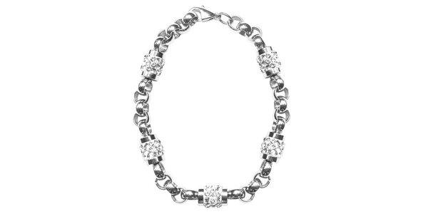 Dámský ocelový náramek Swarovski Elements s čirými krystaly
