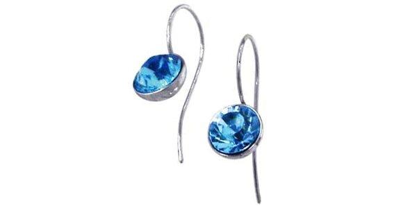 Dámské náušnice Swarovski Elements s modrým krystalem