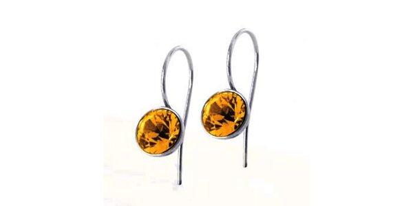 Dámské náušnice Swarovski Elements s jantarovým krystalem