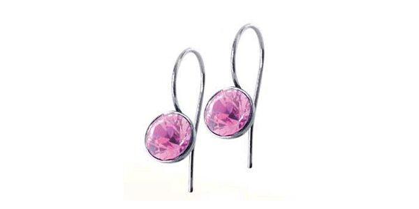 Dámské náušnice Swarovski Elements s růžovým krystalem