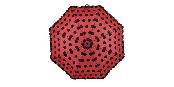 Dámský červený skládací deštník s puntíky Ferré Milano