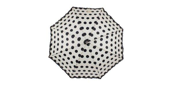 Dámský béžový vystřelovací deštník s puntíky Ferré Milano