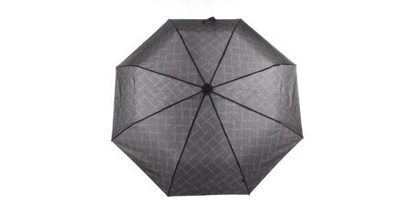 Pánský černý deštník s potiskem loga Ferré Milano