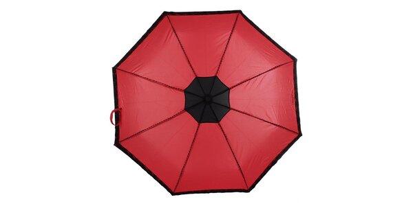 Dámský červený skládací deštník s černými růžičkami Ferré Milano