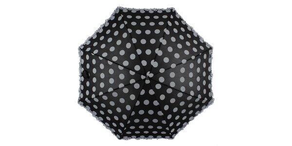 Dámský černý vystřelovací deštník s puntíky Ferré Milano