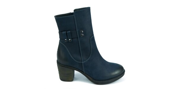 Dámské modré boty na zip Moda Italiana