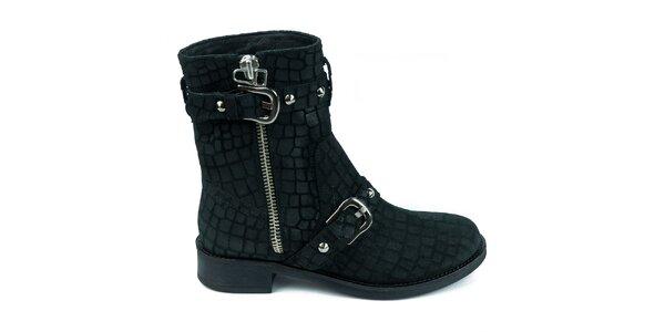 Dámské černé semišové boty se šupinkami Moda Italiana
