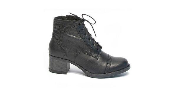 Dámské černé kotníčkové boty s tkaničkami Moda Italiana