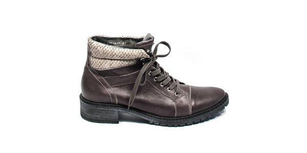 Tmavě šedé kotníkové boty se šněrováním Moda Italiana