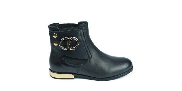 Dámské černé kotníkové chelsea boty Moda Italiana