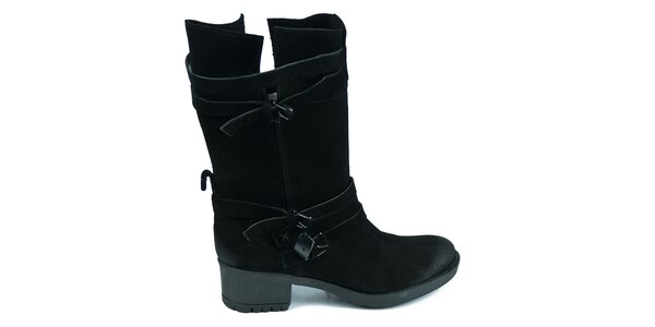 Dámské černé semišové boty Moda Italiana