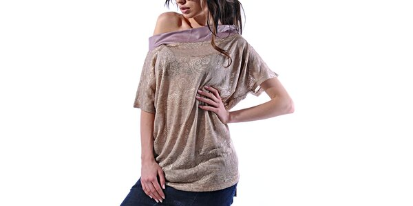 Dámské zlatavé vzorované tričko Female Fashion