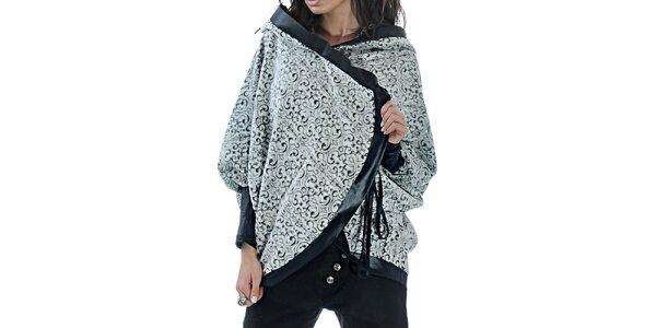 Dámské vzorované pončo s kapucí Female Fashion