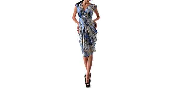 Dámské lesklé šaty se vzorem v modré barvě Female Fashion