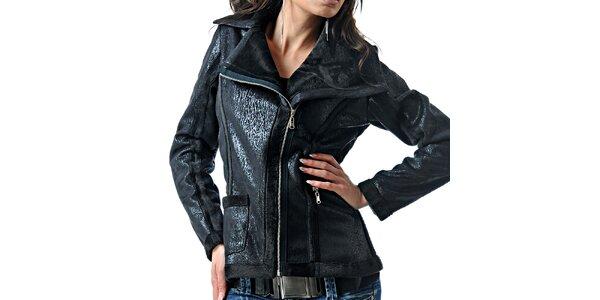 Dámská černá bunda s leskem Female Fashion