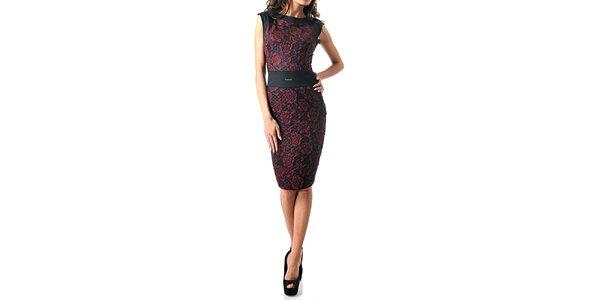 Dámské tmavé šaty bez rukávů s červenými růžemi Female Fashion
