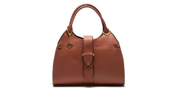 Dámská koňakově hnědá kožená kabelka s páskem Isabella Rhea