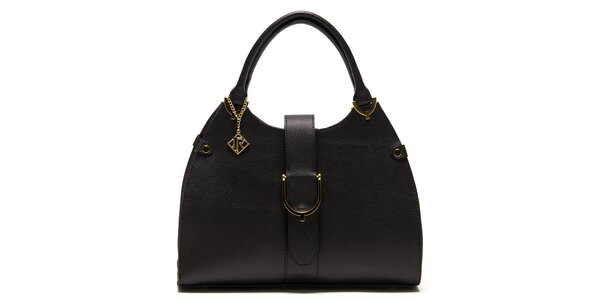 Dámská černá kožená kabelka s páskem Isabella Rhea