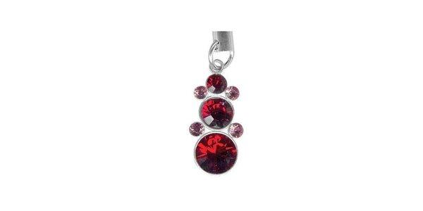 Přívěsek na mobil Swarovski Elements s červenými krystaly
