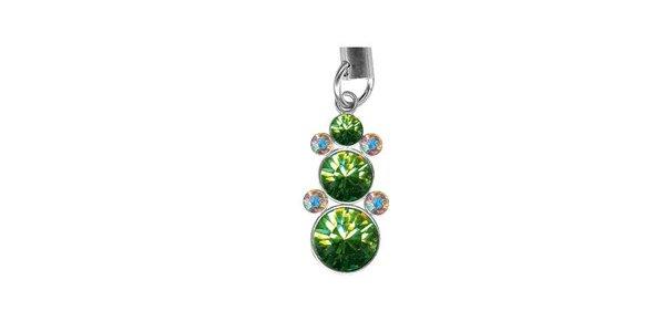 Přívěsek na mobil Swarovski Elements se zelenými krystaly