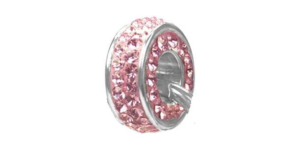 Dámský ocelový přívěsek Swarovski Elements s růžovými krystaly