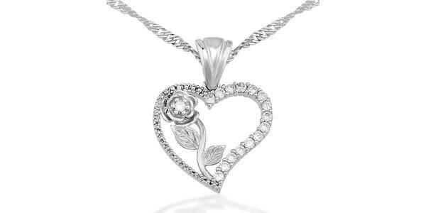 Dámský stříbrný náhrdelník se srdíčkem a růží Elite Goby