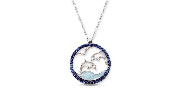 Dámský stříbrný náhrdelník s delfínky Elite Goby