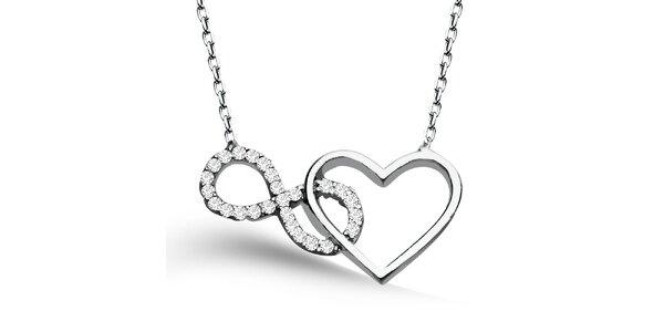 Dámský náhrdelník se srdíčkema a osmičkou ve stříbrném tónu Elite Goby