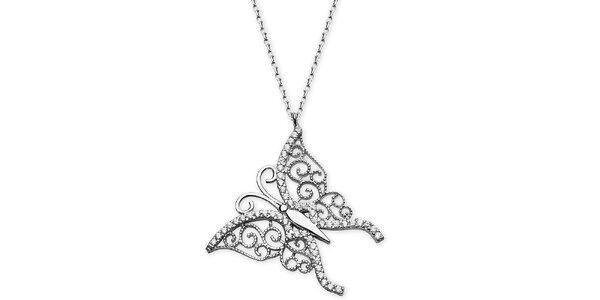 Dámský stříbrný náhrdelník s motýlem Elite Goby