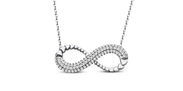 Dámský náhrdelník s přívěskem a zirkony ve stříbrném tónu Elite Goby