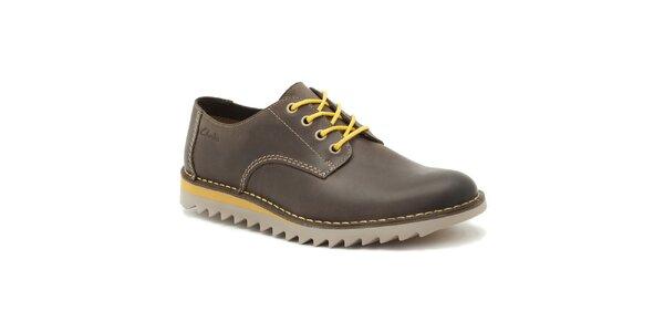 Pánské tmavě hnědé zavazovací boty Clarks