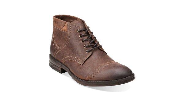 Pánské hnědé kožené prošívané boty Clarks