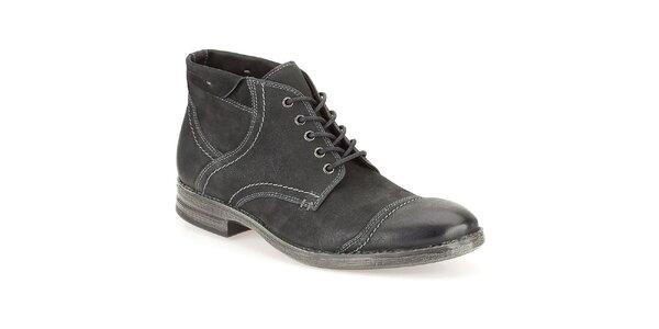 Pánské černé kožené prošívané boty Clarks