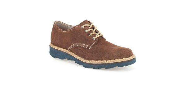 Pánské hnědé semišové boty s modrou podrážkou Clarks