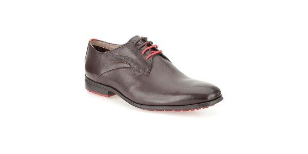 Pánské hnědé lesklé kožené boty Clarks