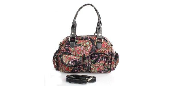 Dámská černá barevně vzorovaná kabelka London Fashion