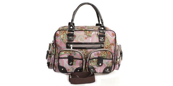 Dámská šedá kabelka s barevným potiskem London Fashion