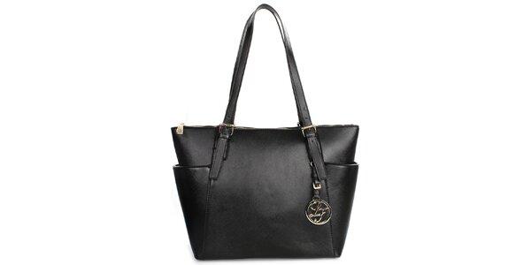Dámská černá kabelka se zipovým zapínáním London fashion