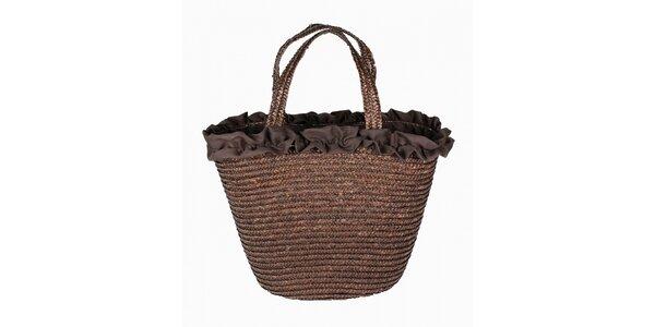 Dámská čokoládově hnědá slaměná taška Tantra s kanýrkovým lemem