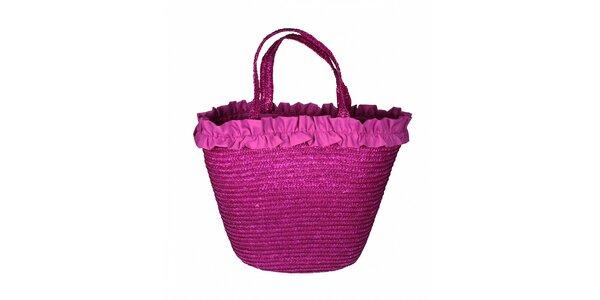 Dámská fuchsiová slaměná taška Tantra s kanýrkovým lemem