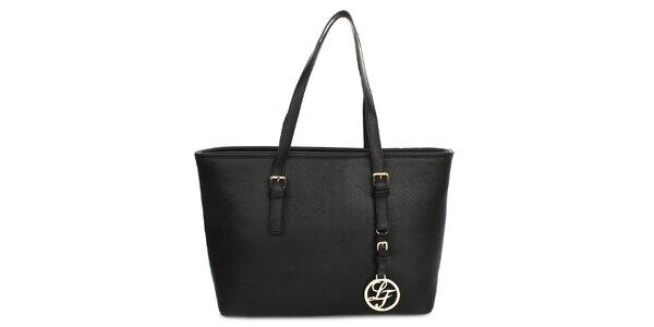 Dámská kabelka s přívěskem London fashion - černá