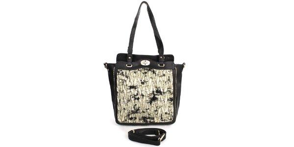 Dámská černá kabelka se vzorovanou přední stranou London Fashion