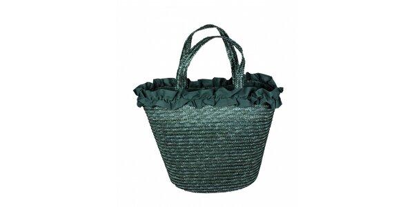 Dámská tmavě zelená slaměná taška Tantra s kanýrkovým lemem