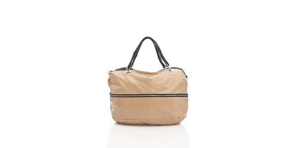 Dámská béžová textilní kabelka Tantra se stříbrným zipem