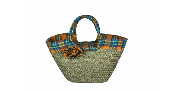 Dámská slaměná taška Tantra s modrým kostkovaným lemem